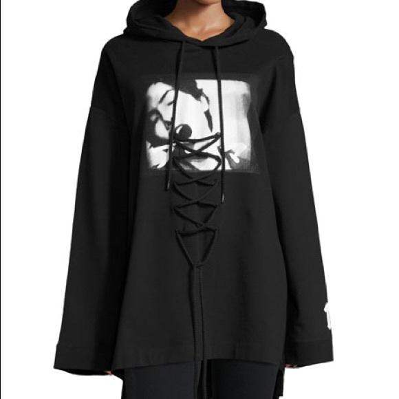 89b8768fc8d6 Fenty Puma graphic lace up hoodie black by rihanna.  M 5b9c8e099fe486421a1804a1